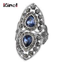 Роскошное кольцо kinel из голубого стекла для женщин античное