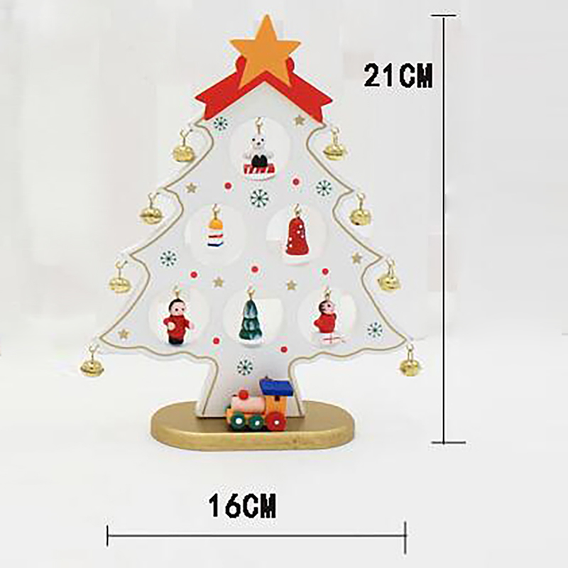 Us 11 75 Diy Cartoon Wooden Artificial Christmas Tree Decorations Ornaments Wood Mini Christmas Trees Gift Ornament Table Decoration 1pc In Trees