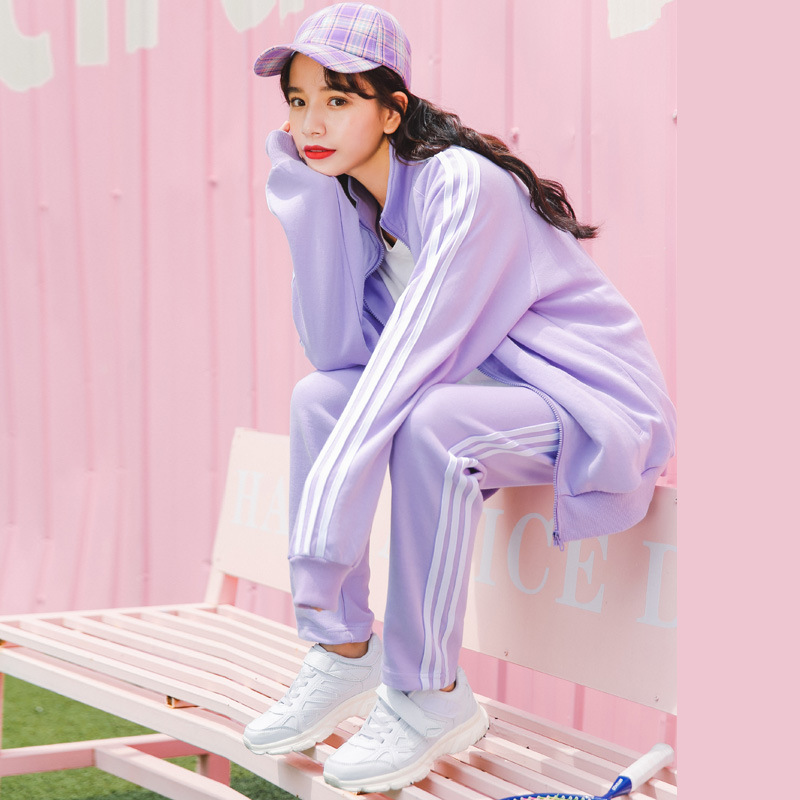 Ladies Tracksuit  Women Hoodies Set Sweatshirt Pants 2pcs Sets Girl Sport Wear Casual Suit Female Sudaderas Mujer Moletom PURPLE