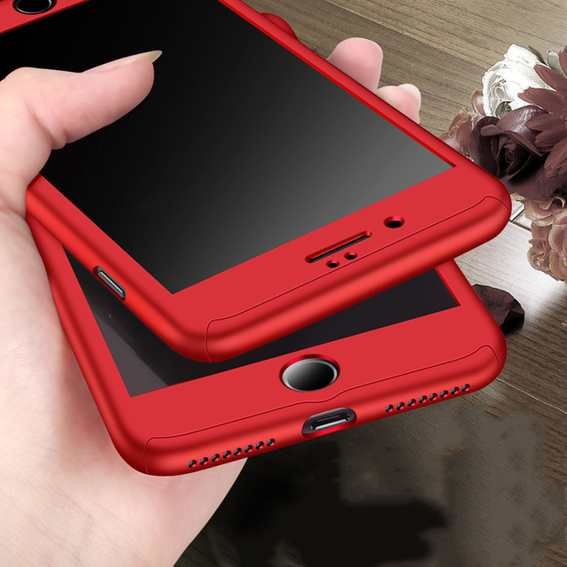 reputable site 286e4 b1132 US $2.16 45% OFF 360 Full Cover Protection Case for iPhone 5 5s SE 6 6s  Plus Luxury Armor Hard PC Phone Cases + Tempered Glass Screen Protector-in  ...