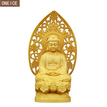 2019 solid wood Buddha sculpture carving furniture home decoration accessories wooden statue Buddha statue loft decoration