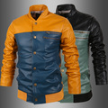 Leather Men Coat 2015 Winter Casual Soild Jackets For Male Top Qulitaty Size M-XXL H724