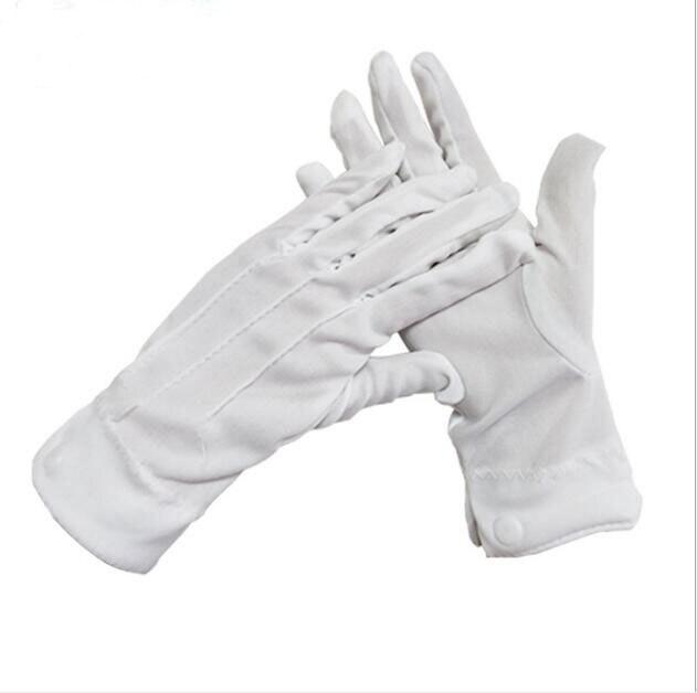 1 Paar Weiß Polyester Baumwolle Drei-band Gürtel Schnalle Military Handschuhe Verdickung Etikette Befehl Handschuhe