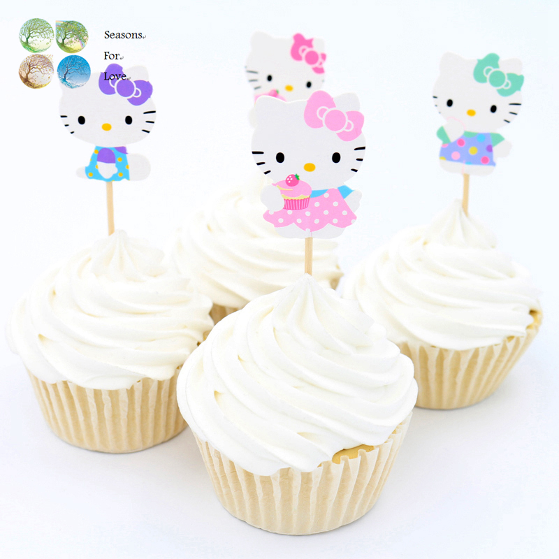 24pcs <font><b>cupcake</b></font> toppers <font><b>cup</b></font> cake picks cute hello cartoon cat kitty <font><b>girls</b></font> <font><b>birthday</b></font> party decoration kids party supplies decor 2016