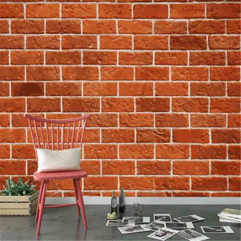Minimalistic 3D Wall Paper for Walls Red Brick Wall Non-Woven Wallpapers Vintage Texture Mural Living Room Decorative Wallpapers shinehome maple leaf floral golden wallpaper for 3d rooms walls wallpapers for 3 d living room wall paper murals mural roll