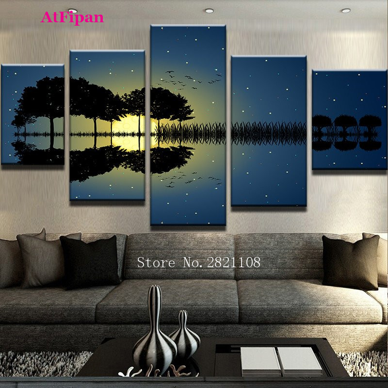 atfipan arte de la lona pintura paneles scenic guitarra nigh oscuro modular pinturas en la pared arte decoracin cuadros hd pa