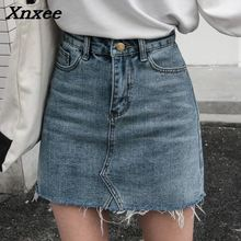 On sale summer Women high waist washed denim skirt distressed details wrapover Mini Single Breasted A-Line jean skirt Xnxee girls single breasted denim skirt