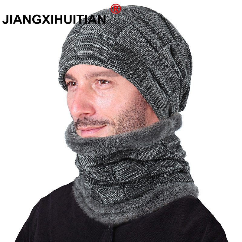 Balaclava Knitted hat scarf cap neck warmer Winter Hats For Men women skullies beanies warm Fleece dad cap