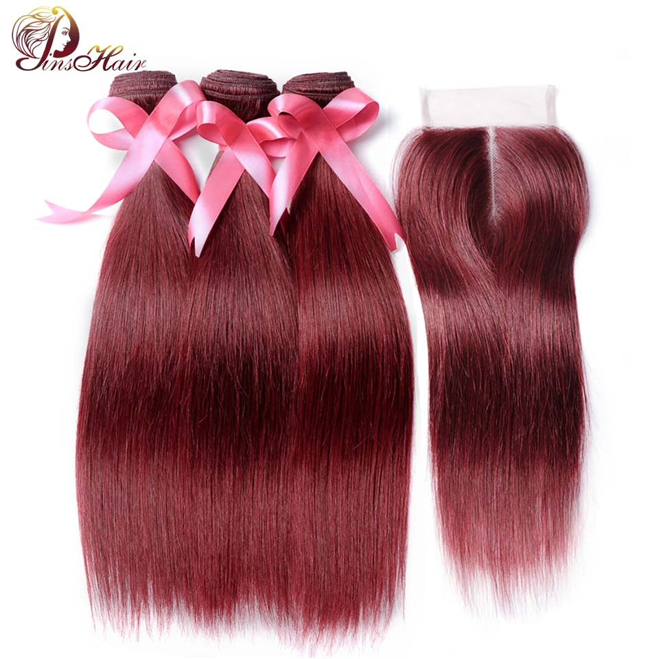 Red 99J Bundles With Closure Burgundy Straight Brazilian Human Hair Weave 3 Bundles With Closure Pinshair NonRemy Hair No Tangle
