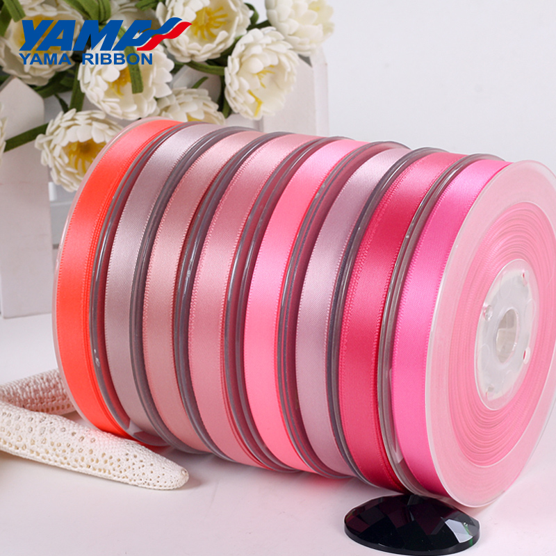 YAMA 25 28 32 38 Mm 100yards/lot Double Face Satin Ribbon Light And Dark Red For Party Wedding Decoration Handmade Rose Ribbons