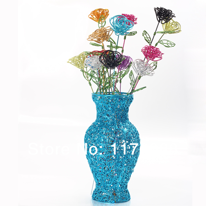 Free shipping DIY fashion handmade handicrafts aluminum wire flower ...