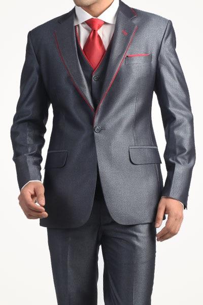 New Design Men Suits Blazer Shiny Gray Groom Men Wedding Suits Best Man Bridegroom Party Tuxedos (Jacket+Pants+Vest)