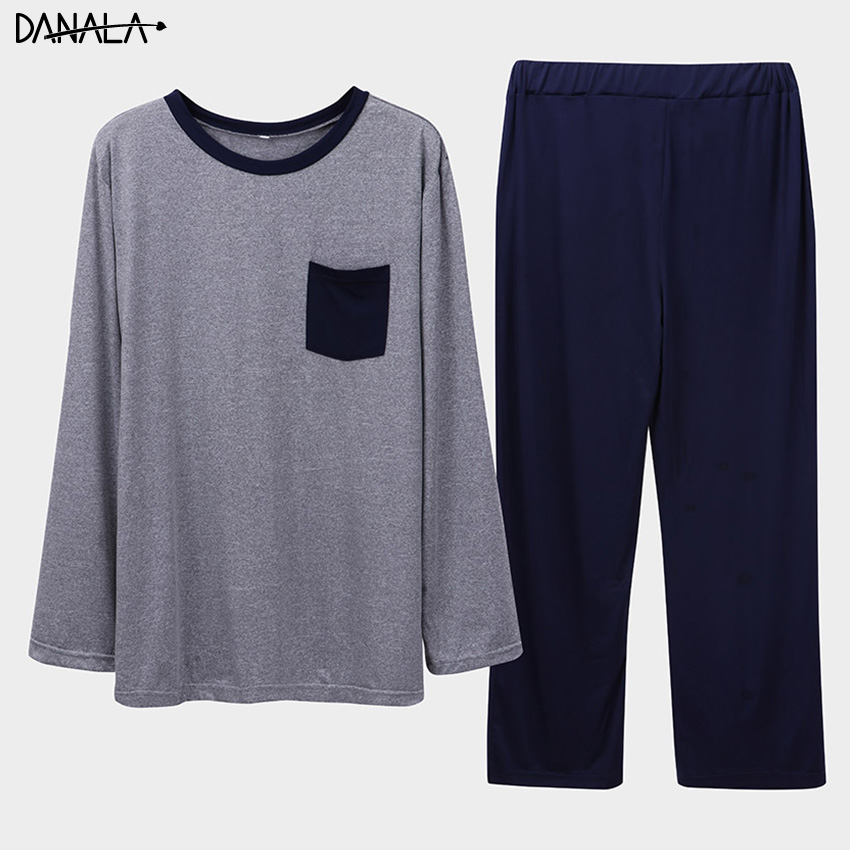 DANALA Casual Sleepwear Set For Men Summer 2019 Long Sleeve Vogue Comfortable Nightwear Sets Male Home Clothes For Men