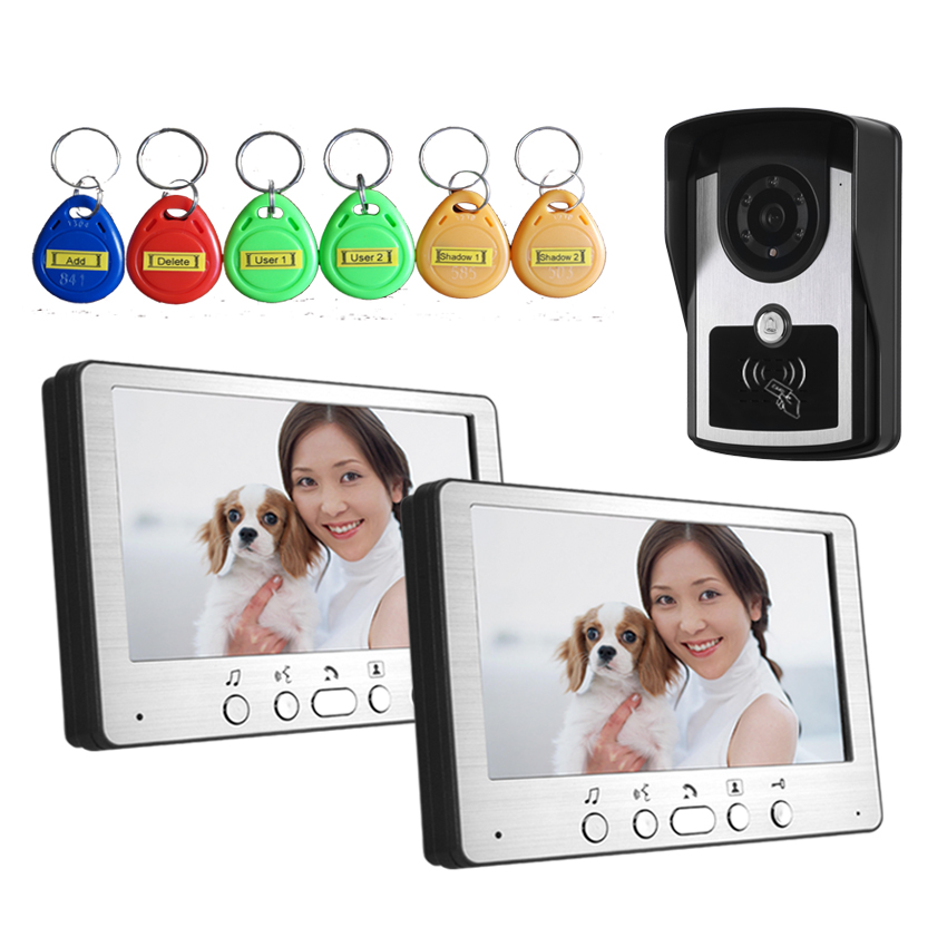 7 Inch  1V2 ID Card Access Control Wired Intercom Video Door Phone one key call 700tvl for wired video door phone outdoor camera id card access control