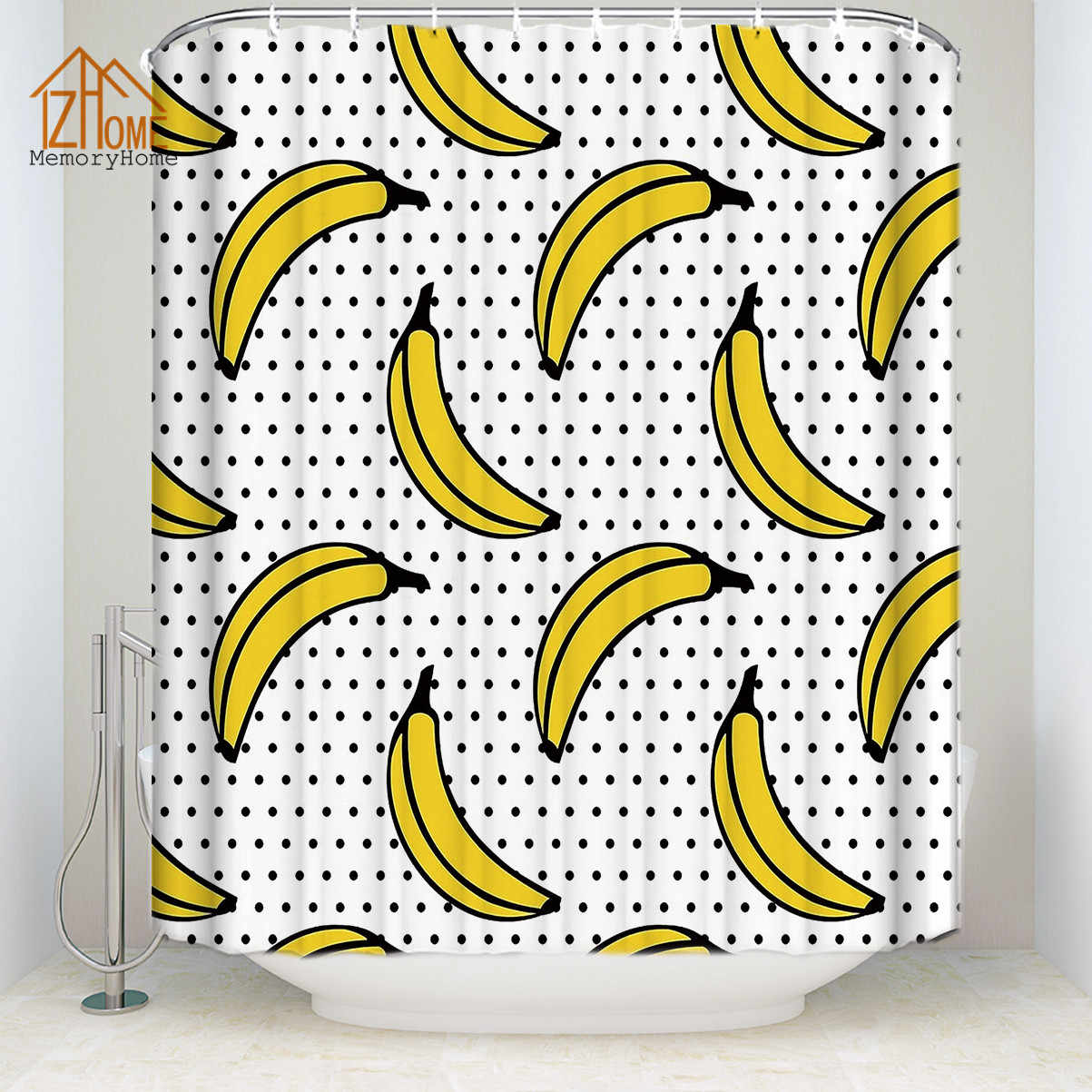 Memory Home Fruit Yellow Banana Shower Curtains for Bathroom Polyester Fabric Waterproof Polka Dot Bath Curtain Shower Curtain