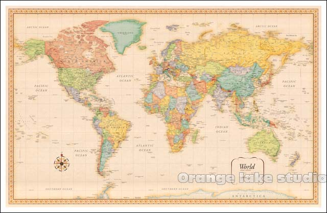 Large HD World Map Classrooms Office Home Decoration Detailed - Large detailed world map poster