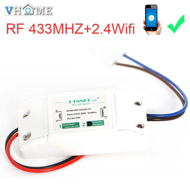 VHome dotykowy pilot zdalnego sterowania przełącznik, bezprzewodowy 2.4g wifi + RF 433 MHz przekaźnik zasilania odbiornika 90 v-250 v 10A inteligentne życie aplikacji