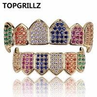 TOPGRILLZ Hip Hop Gold Color Vampire Fangs Grillz Multi Color Micro Pave CZ Bling Cubic Zirconia