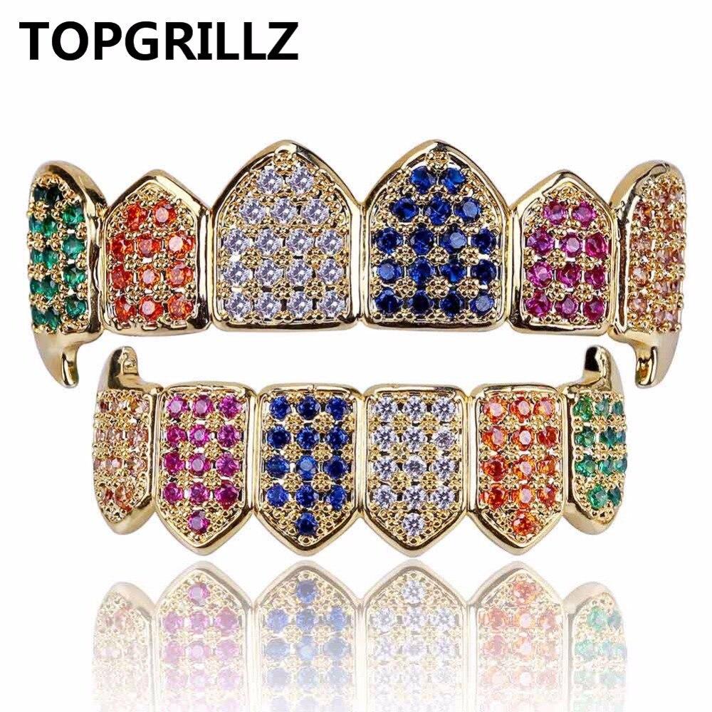 TOPGRILLZ Hip Hop Color oro colmillos de vampiro Grillz Multi-Color Micro Pave CZ Bling de Zirconia cúbica de arriba y abajo los dientes Grillz
