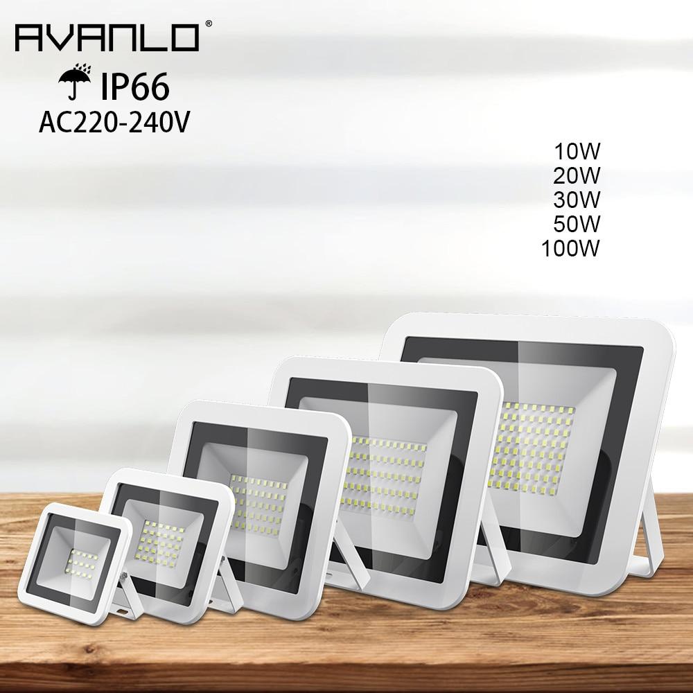 LED Floodlight 100W 50W 30W 20W 10W Ultra Thin Led Flood Light Spotlight Outdoor 220V 240V IP66 OutdoorWall Lamp Flood Light