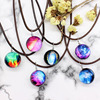 New galaxy necklaces Stars Glass Ball Pendant Crystal Collares Duplex Planet Pattern Leather Chain Maxi Necklace For unisex