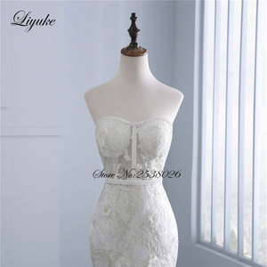 """Image 5 - Liyuke высокое качество цветочный принт свадебное платье в стиле """"Русалка"""" Аппликация из кружева, вышитая бисером жемчужина ручная работа Элегантное свадебное платье с открытыми плечами"""