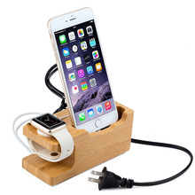 Universal Bamboo Multi Phone Watch Charging Stand Dock Holder with 3 USB Port for  Watch smart phone