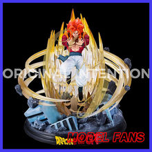 FÃS MODELO INSTOCK 4 Dragon Ball Z super saiyan Gogeta gk resina estátua conter led light toy figura para Coleção(China)