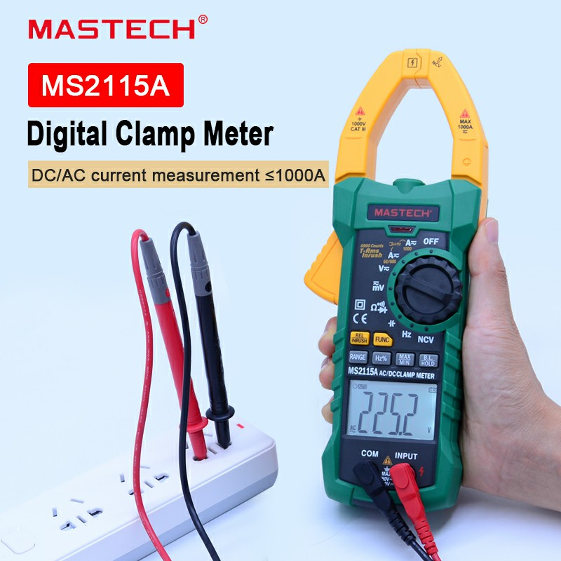 MASTECH Digital Clamp Meter MS2115A AC/DC 1000A Auto Range Clamp Meter Multimeter Clamp Current Meter Tester 6000 Counts mastech ms2138 digital 1000a ac dc clamp meter multimeter electrical current 4000 counts voltage tester with high performance