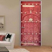 2pcs Set 3D Medieval Retro Style Scarlet Door DIY Door Art Mural Wall Sticker Home Decor