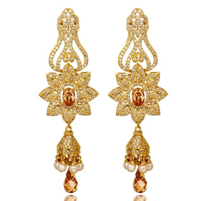 Luxo 18 k real banhado a ouro cubic zircon longo dangle brincos CZ jóias de noiva crylstal romântico flor