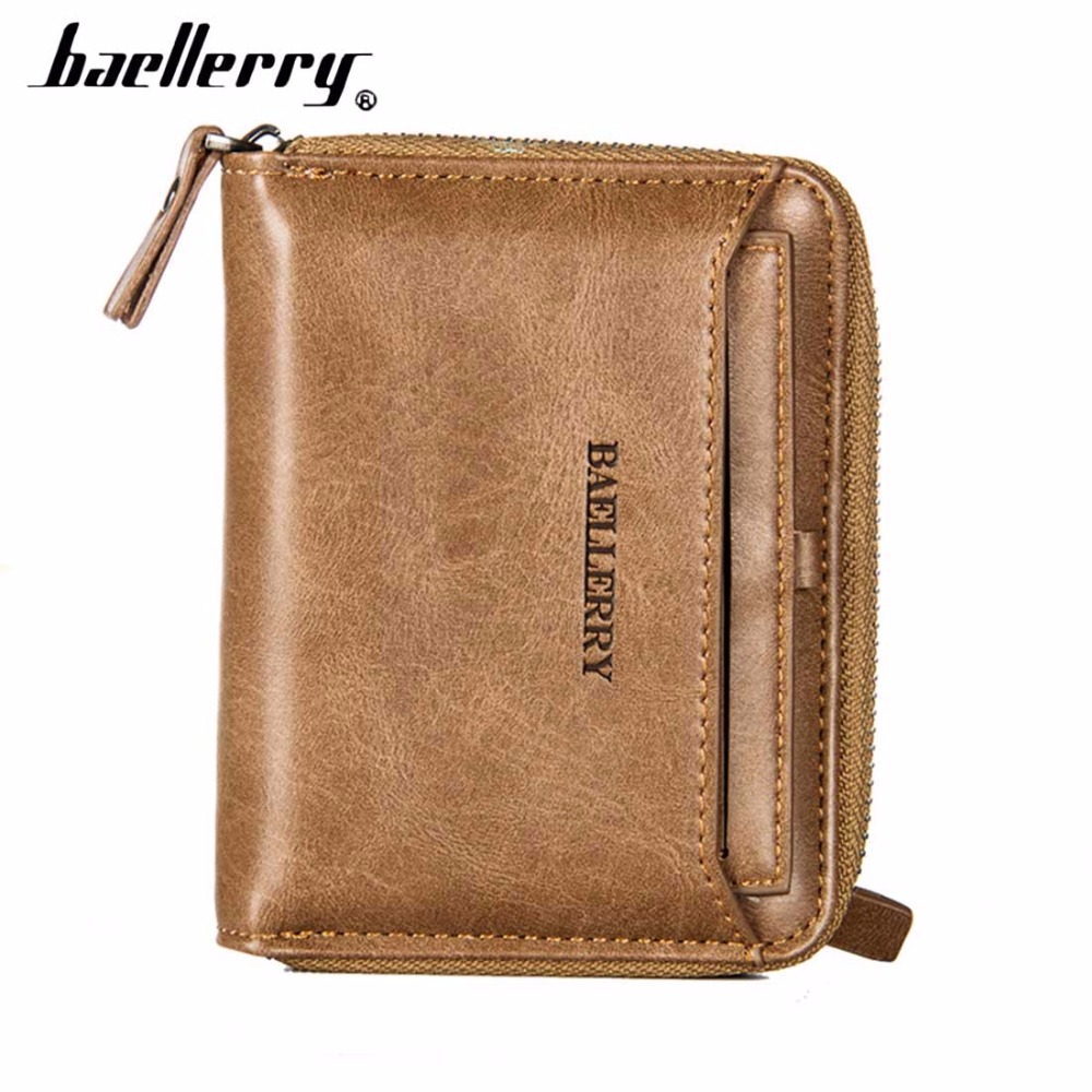 Baellerry PU Leather Men Wallets Zipper Card Holder Sample Solid Men Leather Wallet Coin Pocket High Quality Male Purse cartera