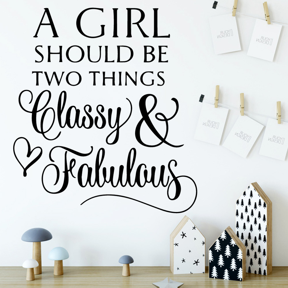 Diy Classy Girl quote Waterproof Wall Stickers Wall Art Decor Wall Decals Decoration Vinyl Mural Decal art