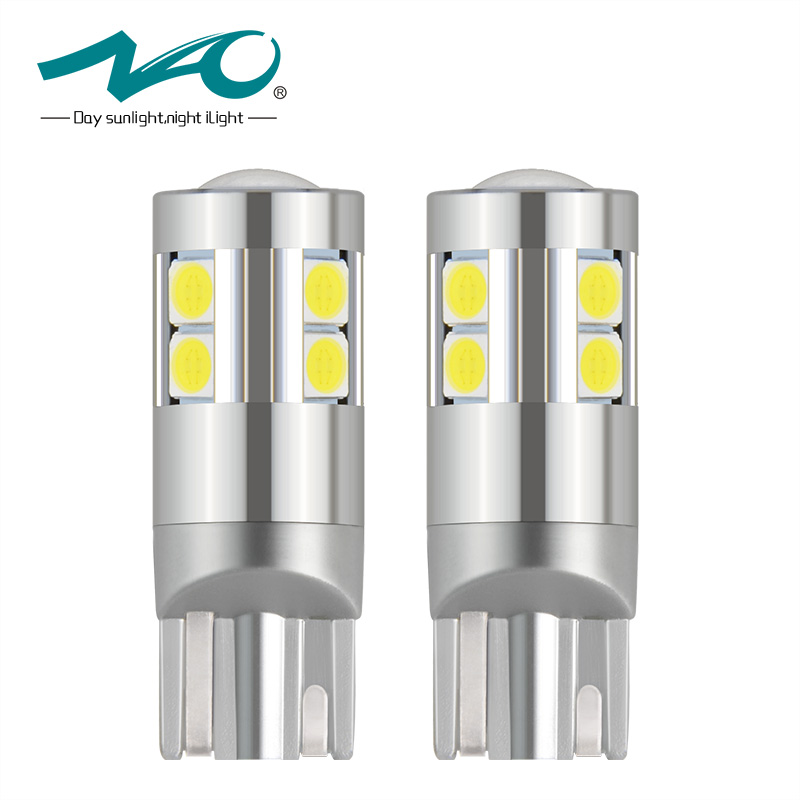 NAO 2x W5W T10 LED Bulb Super Bright 2.5W 9 led 3030 SMD 194 168 12V 6000K White Clearance Lights Reading lamp Car Lighting