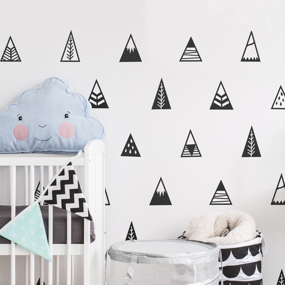 50piecesset geometric triangle wall sticker nursery cute mountain 50piecesset geometric triangle wall sticker nursery cute mountain tribal vinyl wall decals removable for kids room home decor in underwear from mother amipublicfo Gallery