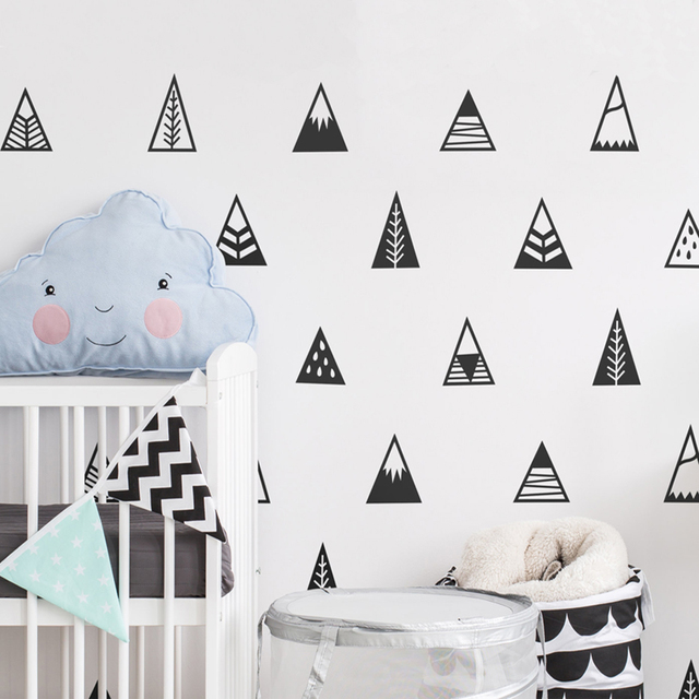 Piecesset Geometric Triangle Wall Sticker Nursery Cute Mountain - Vinyl wall decals removable