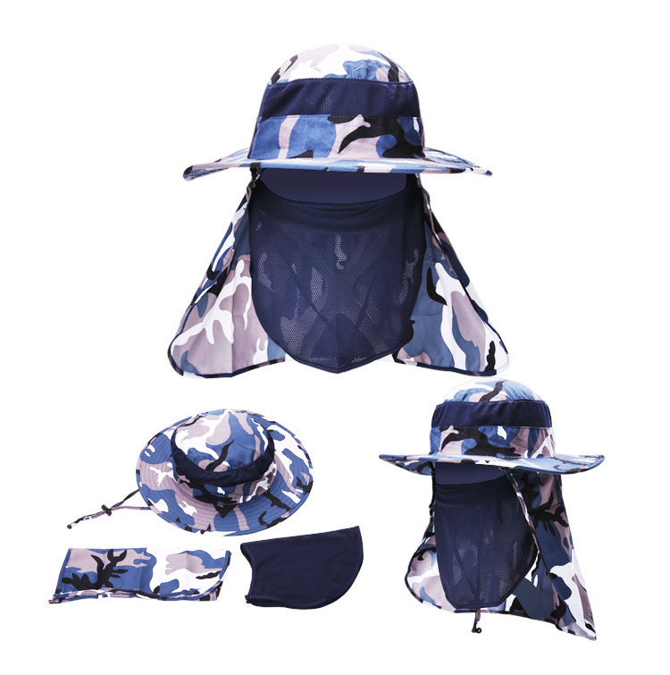 [AETRENDS] 17 New Detachable Camouflage Bucket Hat Neck Protection Summer Cap Windproof Anti-mosquito Fishing Hats Z-5160 4