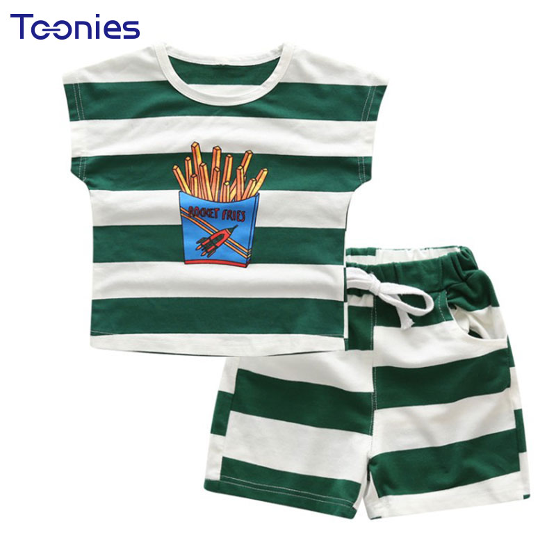2018 High Quality Sportswear Baby Boy Suits Striped T-shirt+ Shorts Summer Short Sleeve 2pcs Kids Sets Pattern Printed Boy Cloth