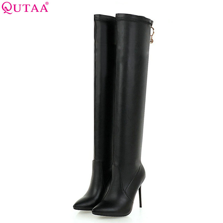 QUTAA 2019 Women Over The Knee High Boots Fashion Women Shoes Platform Winter Boots Zipper Thin Heel Women Boots Big Size 34-43 qutaa 2017 spring women over the knee boots elastic band thin high heel elegant women party shoes black winter warm size 34 43 page 7