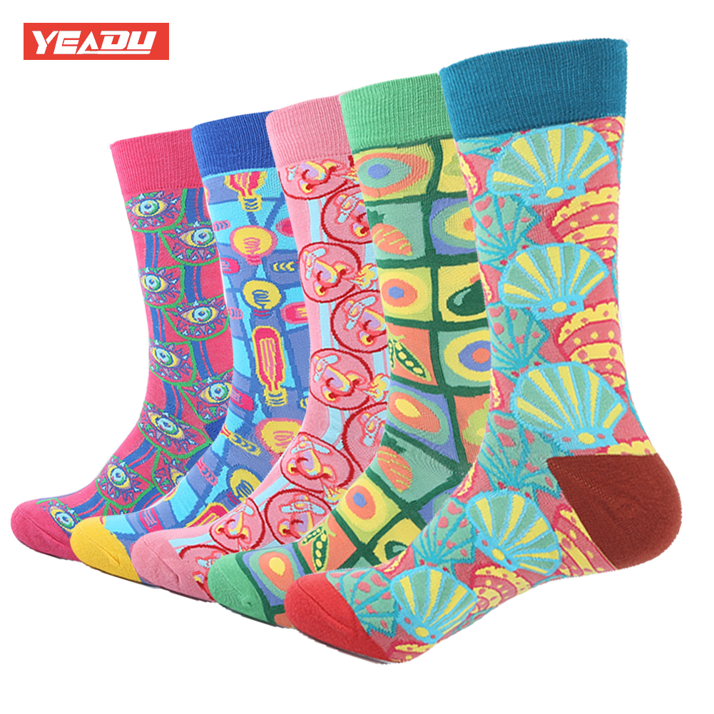YEADU 5 Pair/Lot Mens Combed Cotton Socks Colorful Novelty Dress Casual Happy Socks Abstract Fruit Funny Crew Socks