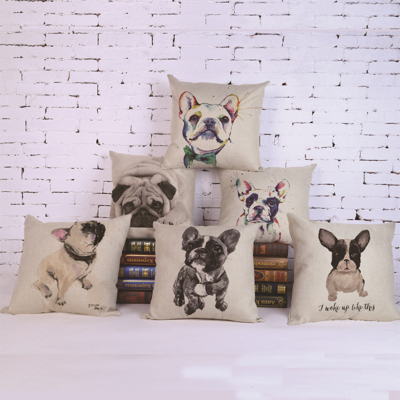 2017 Hot Sale Pillowcase Lovely Pet Dog Cotton Linen Pillow Case French Bulldog Bedroom/chair Seat 18x18 Inches Free Shipping