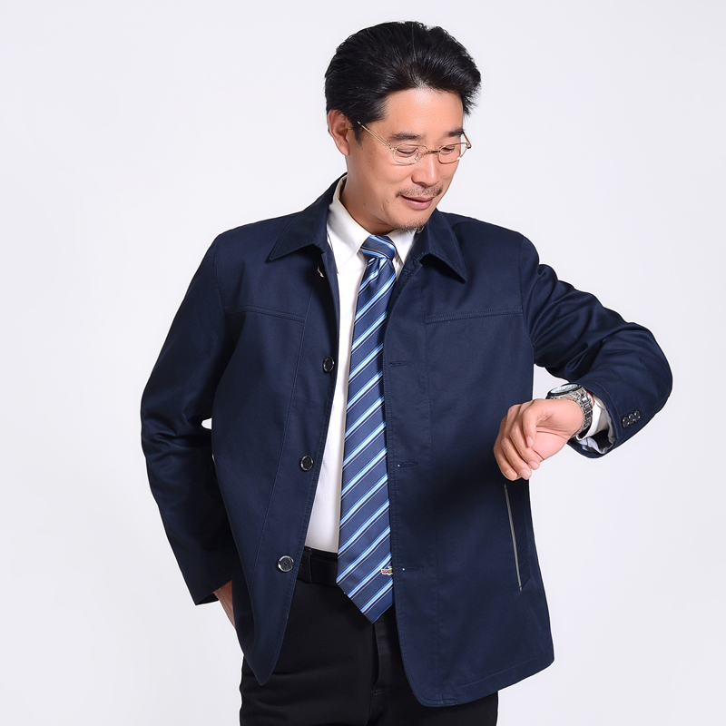 Chinese Style Middle Aged Men Casual Jackets Autumn Spring Man Turn Down Collar Button Front Coats