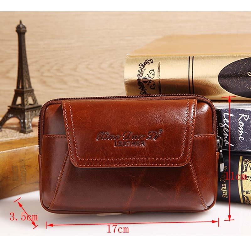 Högkvalitativ äkta läder vintage män hip bum bälte handväska - Bälten väskor - Foto 3