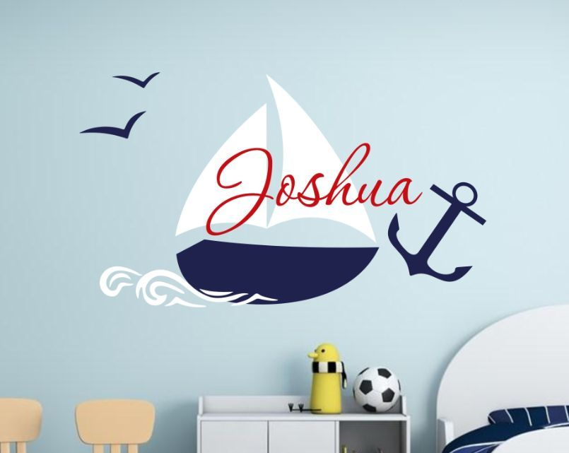nautical children name wall decal with anchor removable name sticker