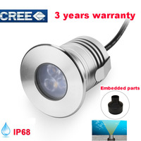 Stainless Steel 12V IP68 Waterproof LED Underwater Swimming Pool Light Lamp 3W Spa Sauna Lake Yard