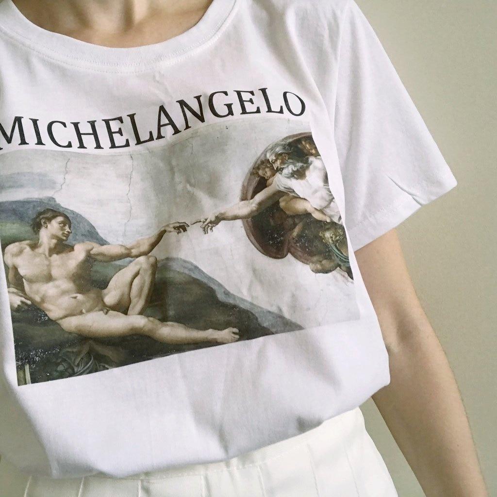 Sunfiz YF Унисекс Женская Tumblr модная винтажная графическая футболка Микеланджело Cappella Sistina Арт Принт белая футболка эстетика Топ