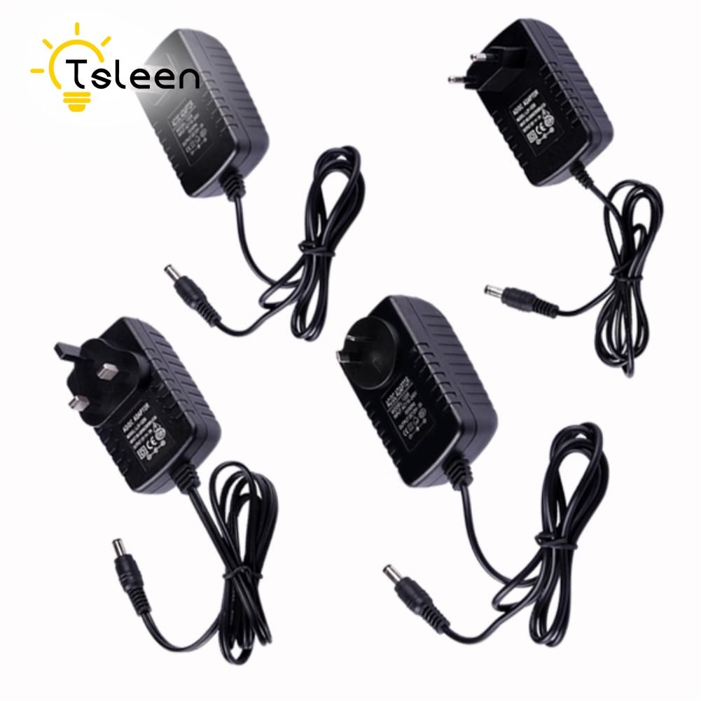 TSLEEN High Quality! 12V 2A AC DC Adaptor Adjustable Power Adapter Universal Charger Supply For 5050 3528 LED Strip Lights CCTV