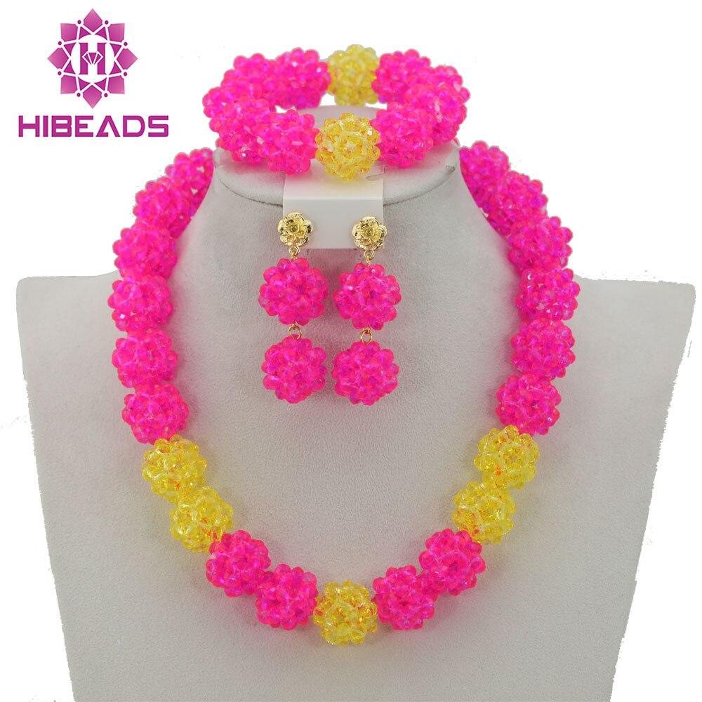 ᗗPink encanto cristal Cuentas joyería de traje Africana fijó las ...