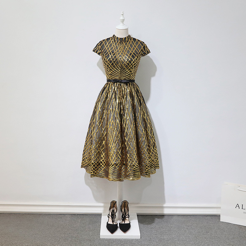 High Neck Short Evening Dress Plus Size Sequin Gown Vintage Prom Dresses Saudi Arabia Special Occasion Dresses