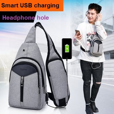 New Casual Men s Chest Backpack USB Charge Sling Bag Small Male Crossbody Bags  Fashion Backpacks Women One Shoulder Strap Bags -in Backpacks from Luggage  ... 0df44ad6231b1